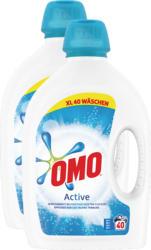 Lessive liquide Active Omo, 2 x 40 lessives, 2 x 2 litres