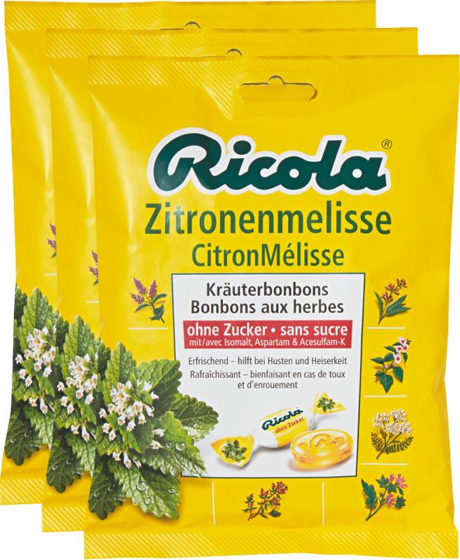 Caramelle alle erbe Ricola, Melissa Limoncella, senza zucchero, 3 x 125 g