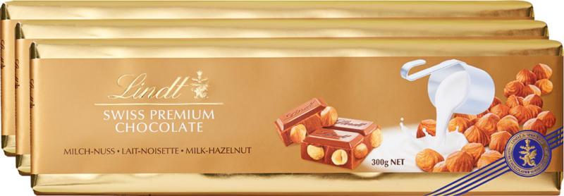 Lindt Goldtafel Milch-Nuss, 3 x 300 g
