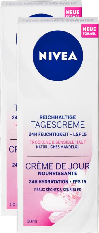 Crema da giorno nutriente Nivea, pelli secche e sensibili, 2 x 50 ml