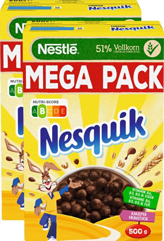 Céréales Nestlé, Nesquik, petit-déjeuner croustillant, 2 x 500 g
