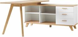 """Schreibtisch """"Helsinki"""", skandinavisches Design, mit integriertem Sideboard, 144x75x145 cm, weiß/Sanremo-Eiche-Nachbildung"""