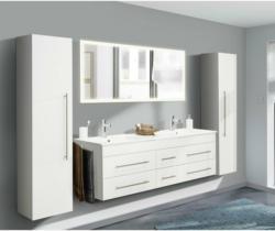 """Badmöbel-Set Komplett """"Nero XL"""" 4-teilig, inkl. LED-Spiegel, weiß hochglanz weiß"""