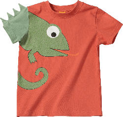 PUSBLU Kinder Shirt, Gr. 98, in Baumwolle, orange, grün