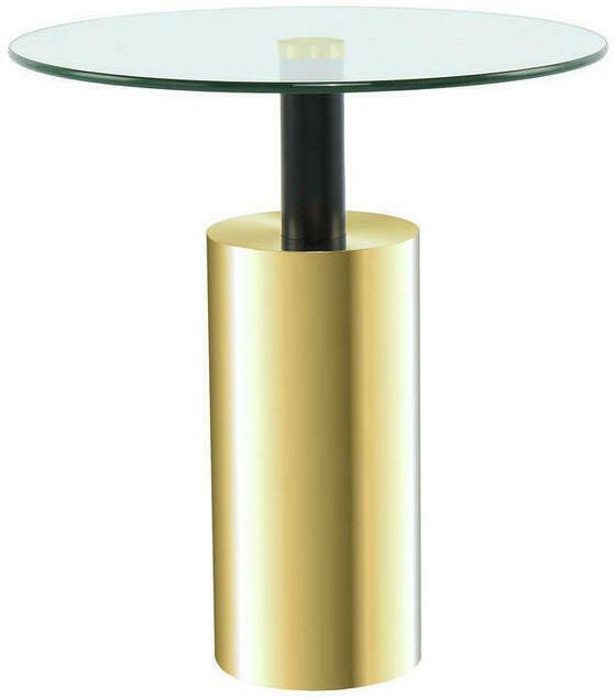 Beistelltisch in Metall, Glas 46/46/50 cm