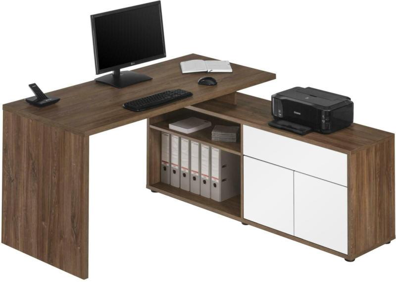Schreibtisch in Eichefarben/Weiß