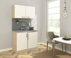 Miniküche in Weiss/Eiche Sonoma inkl. E-Geräte