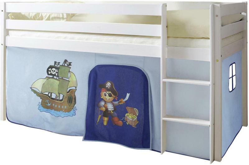 Spielbett 'Malte', aus Kiefer, blau/weiß