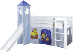 Spielbett 'Kasper',aus Kiefer, blau/weiß