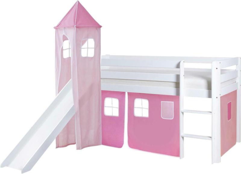 Spielbett 'Kasper',aus Kiefer, rosa/weiß/hellrosa
