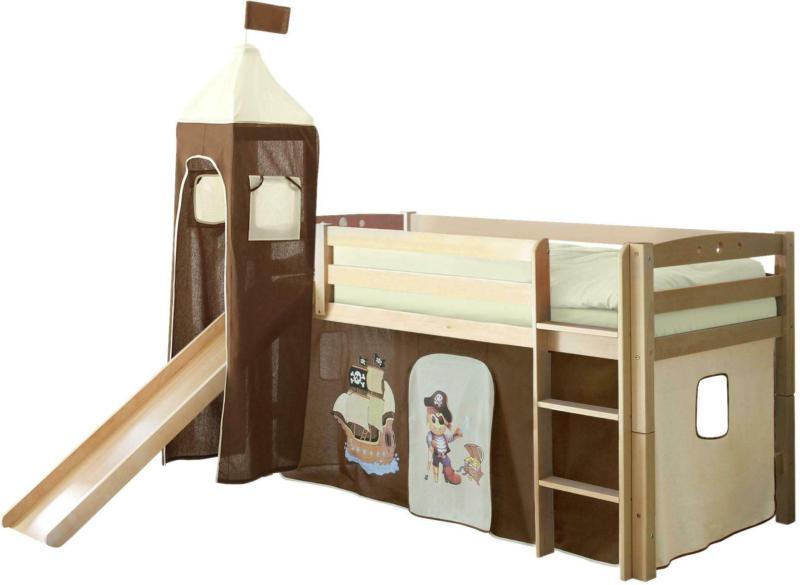 Spielbett 'Toby R', aus Buche, creme/naturfarben/dunkelbraun
