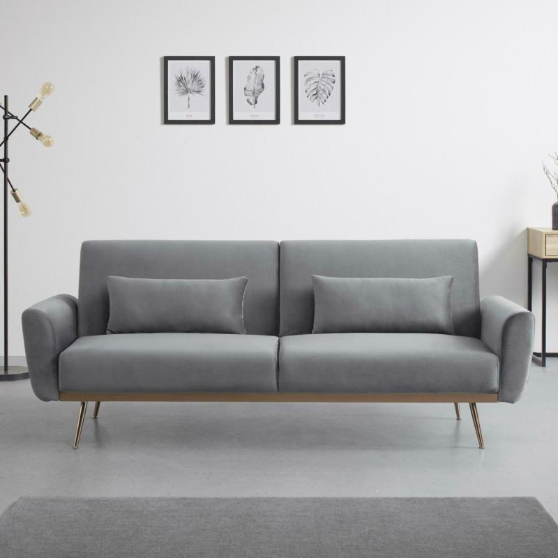 Sofa 'Guilia' mit Schlaffunktion, grau