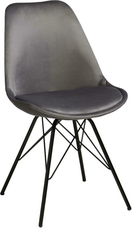 Stuhl aus Samt in Grau/Schwarz