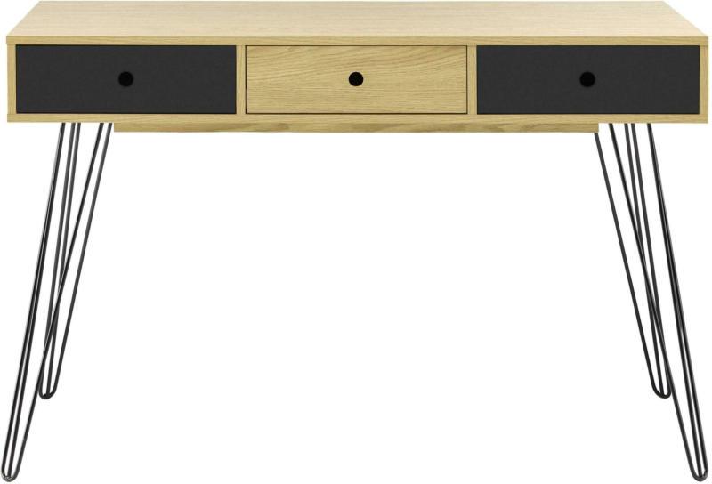 Schreibtisch in Naturfarben/Schwarz