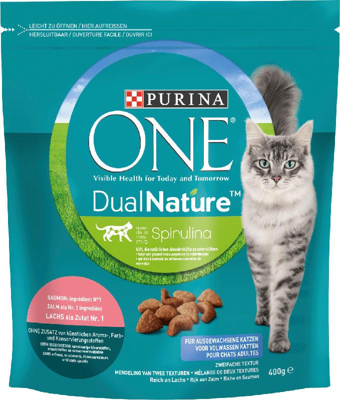 PURINA ONE Trockenfutter für Katzen, Dual Nature mit Spirulina für ausgewachsene Katzen reich an Lachs