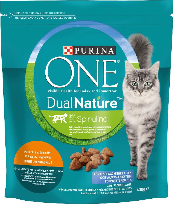 PURINA ONE Trockenfutter für Katzen, Dual Nature mit Spirulina für ausgewachsene Katzen reich an Huhn