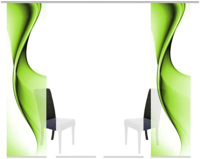 Vorhang mit Paneelwagen Bristol B: 240cm, Grün/Weiß