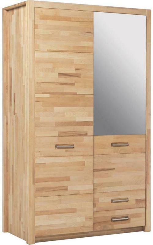 Drehtürenschrank mit Spiegel + Laden 120cm Fenja, Kernbuche