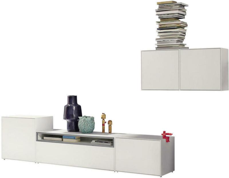 Wohnwand 308/156/44,8 cm in Grau, Weiß