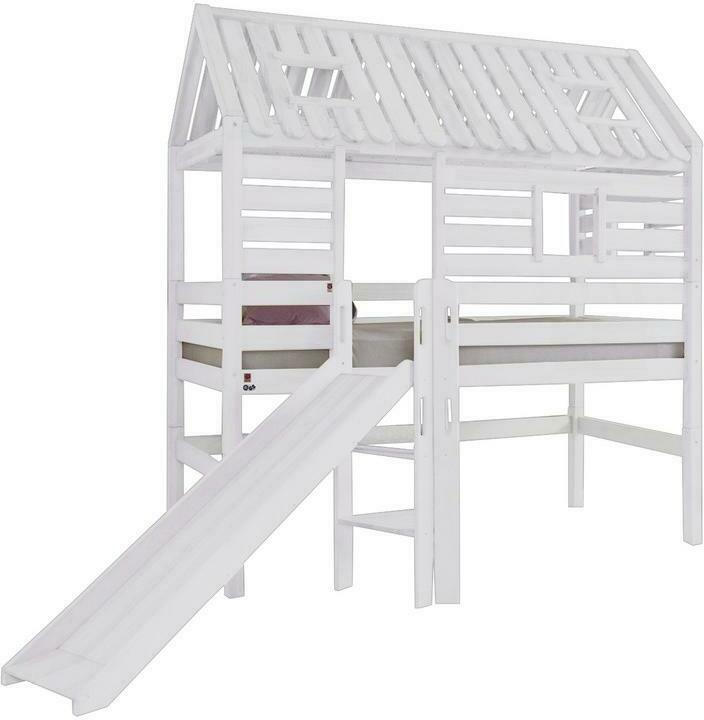 Spielbett Eliyas Weiß Buche Massiv 90 cm Leiter Rutsche